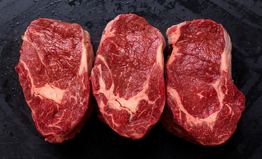 Three New York Strip steaks