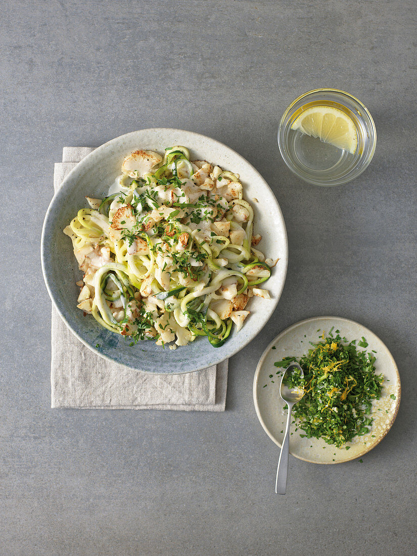 Zoodles alfredo with roasted cauliflower and gremolata