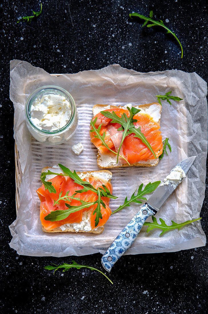 Toast topped with cream cheese and smoked salmon
