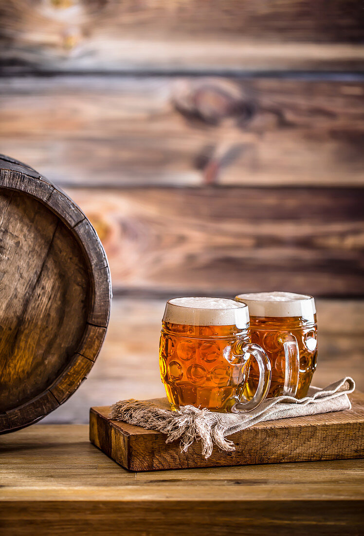 Draft cold beer in glass jars