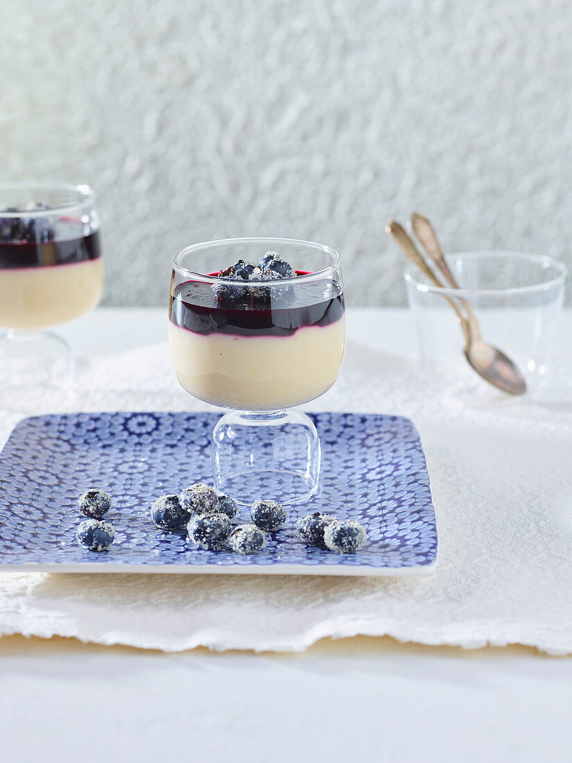 Foamy almond cream with blueberry jelly
