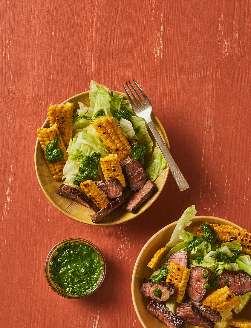 Sweetcorn and steak salad with quick chimichuri