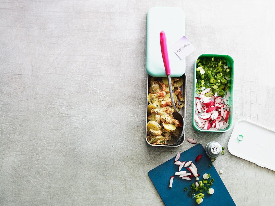 Potato salad with crayfish to take away