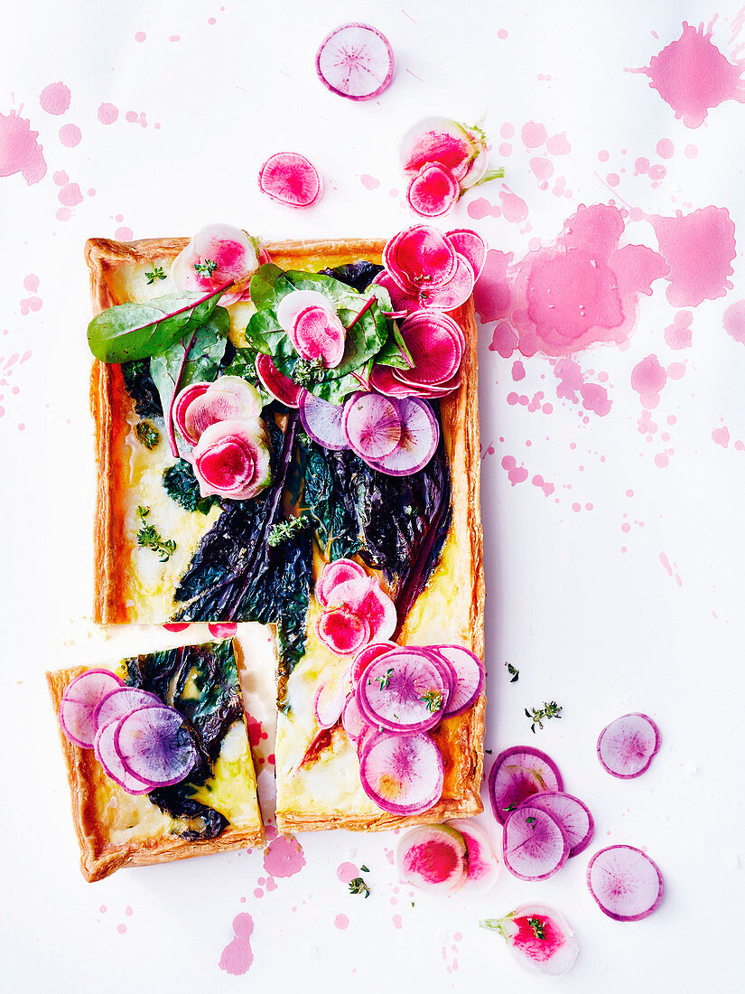 Wilted rainbow chard tart with roasted garlic