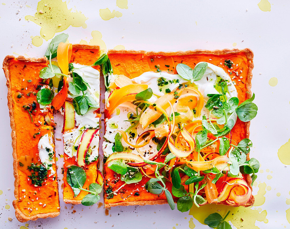 Gluten-free caramelised carrot tart with carrot-top salsa verde