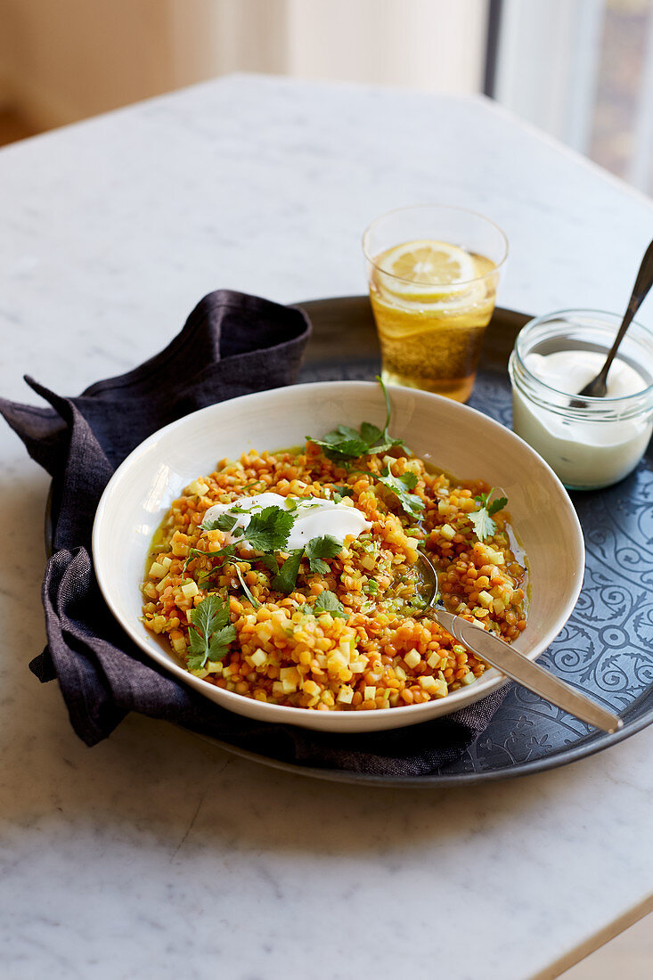 Dhal with red lentils and parsnips