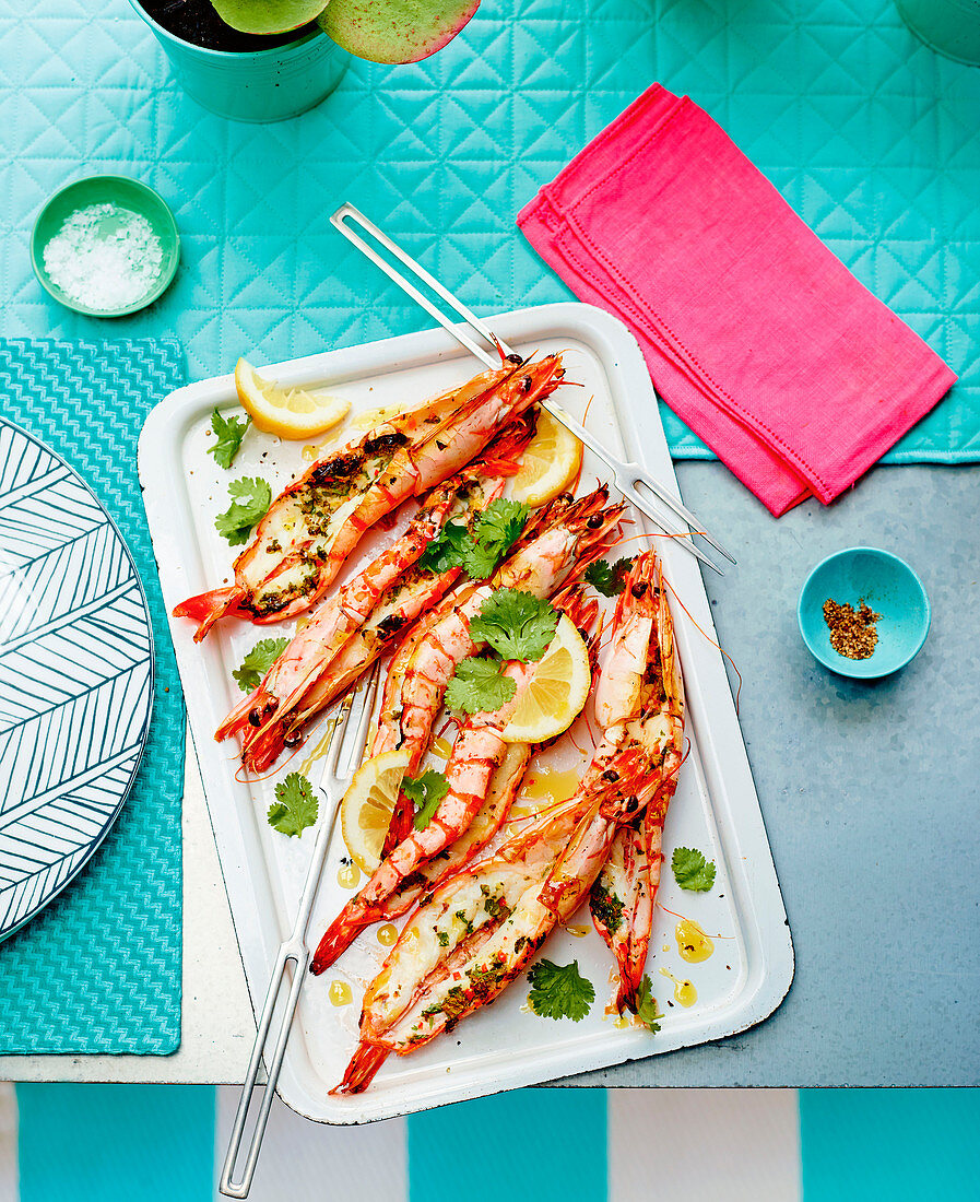 Butterflied prawns with chilli and coriander
