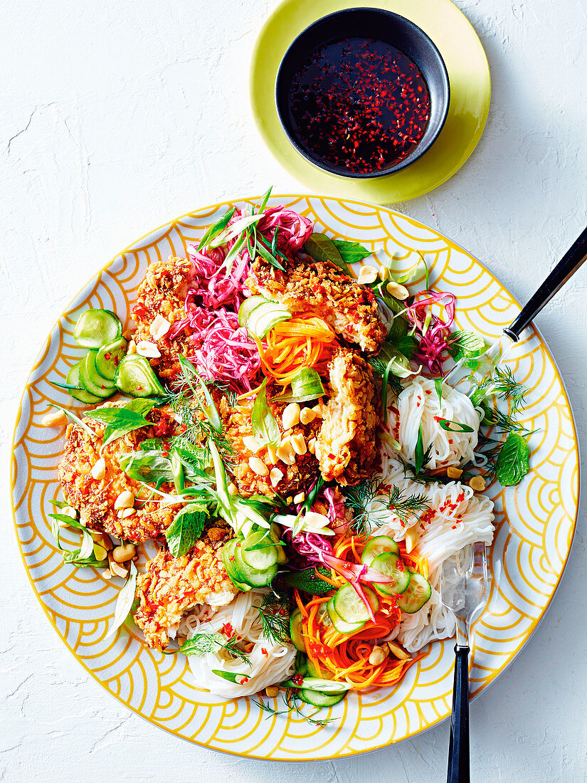 Fried crab and prawn cake with rice noodle salad