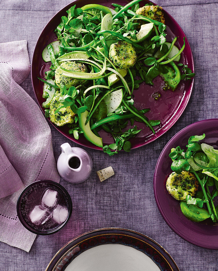 Herb-crumbed goat's cheese and avocado salad