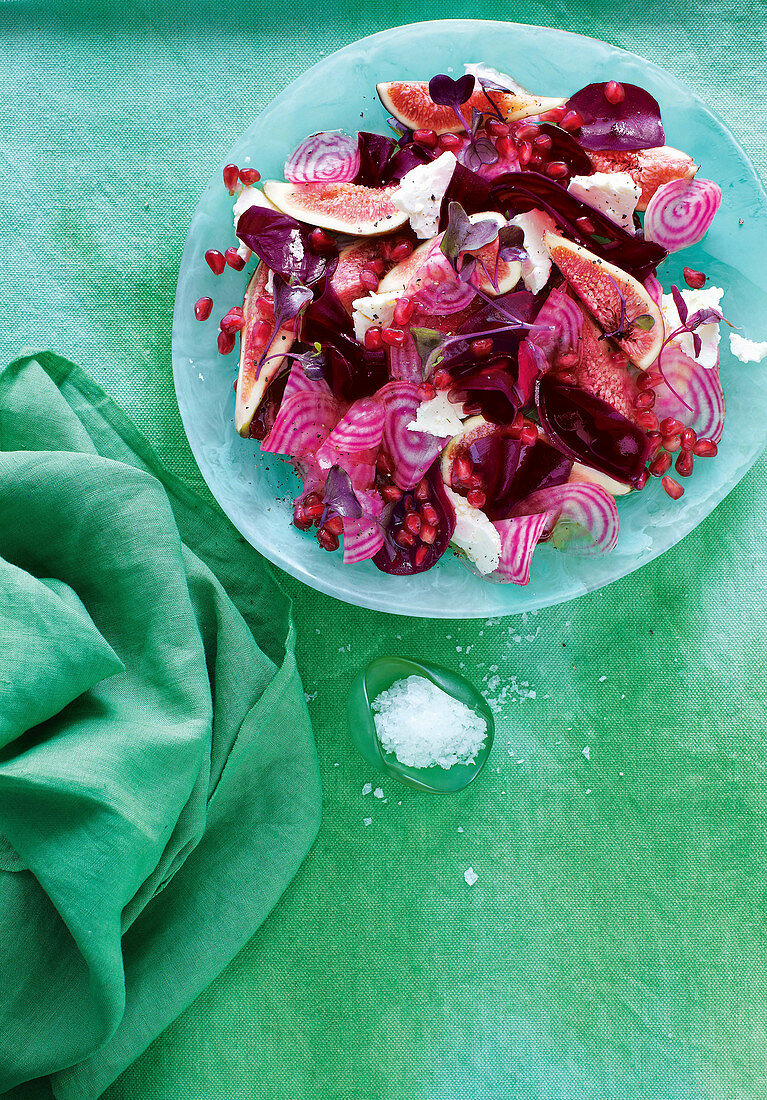 Beetroot, fig and pomegranate salad with goat's cheese