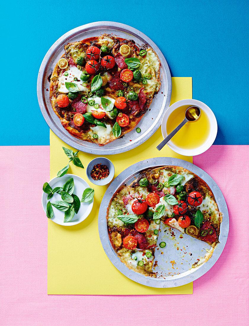 Quick tomato and salami pizzas