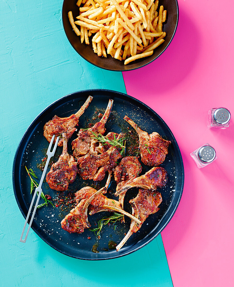 Pepper and rosemary butter lamb cutlets