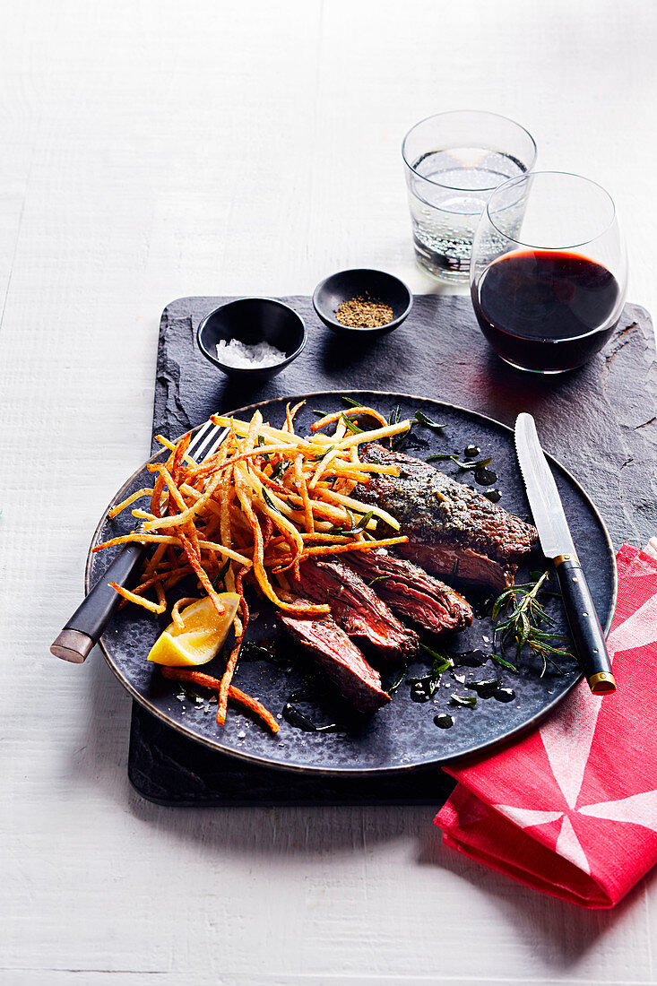Steak frites with seaweed butter