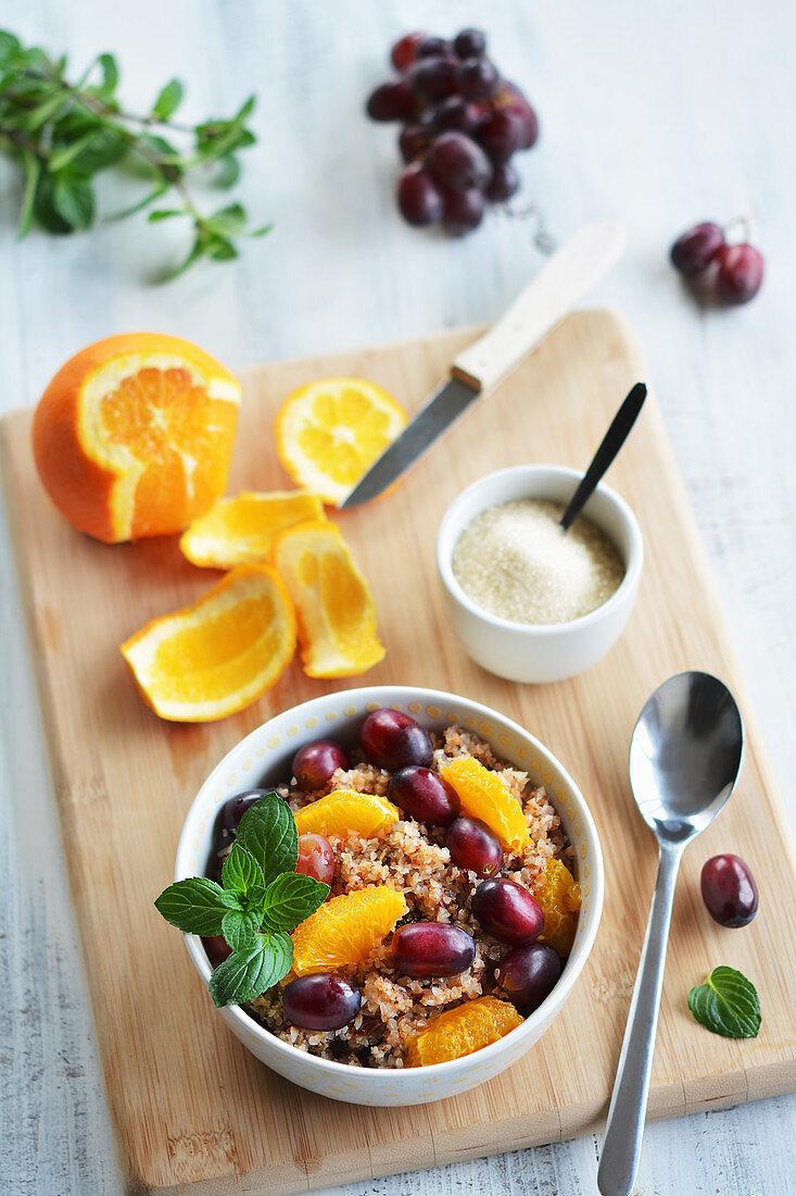 Buckwheat bulgur with fresh fruit (vegan and gluten-free)