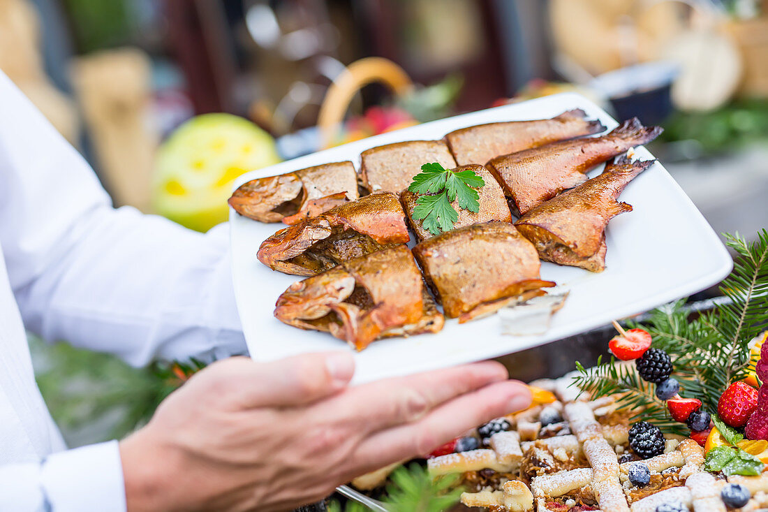 Barbecue smoked fish on catering