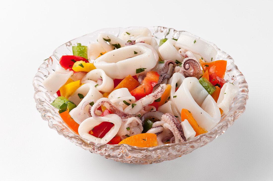 Calamari salad with peppers