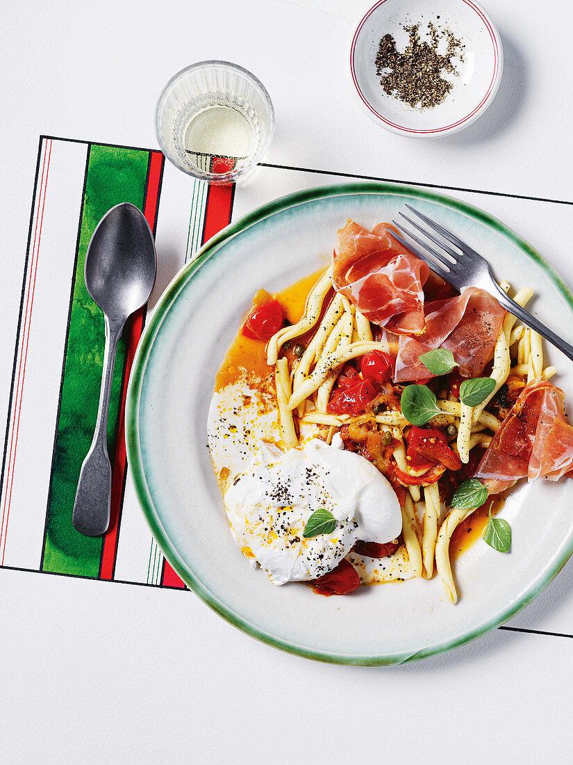 Pepperonata with prosciutto and burrata