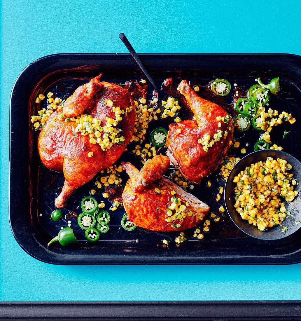 Paprika roasted chicken with jalapeno corn salsa