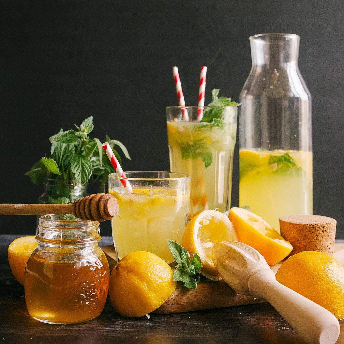 Lemonade with honey and herbs