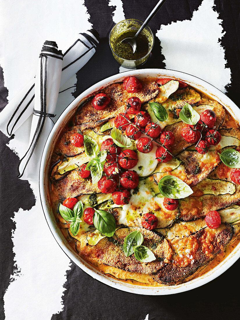 Gluten-free eggplant parmigiana lasagne