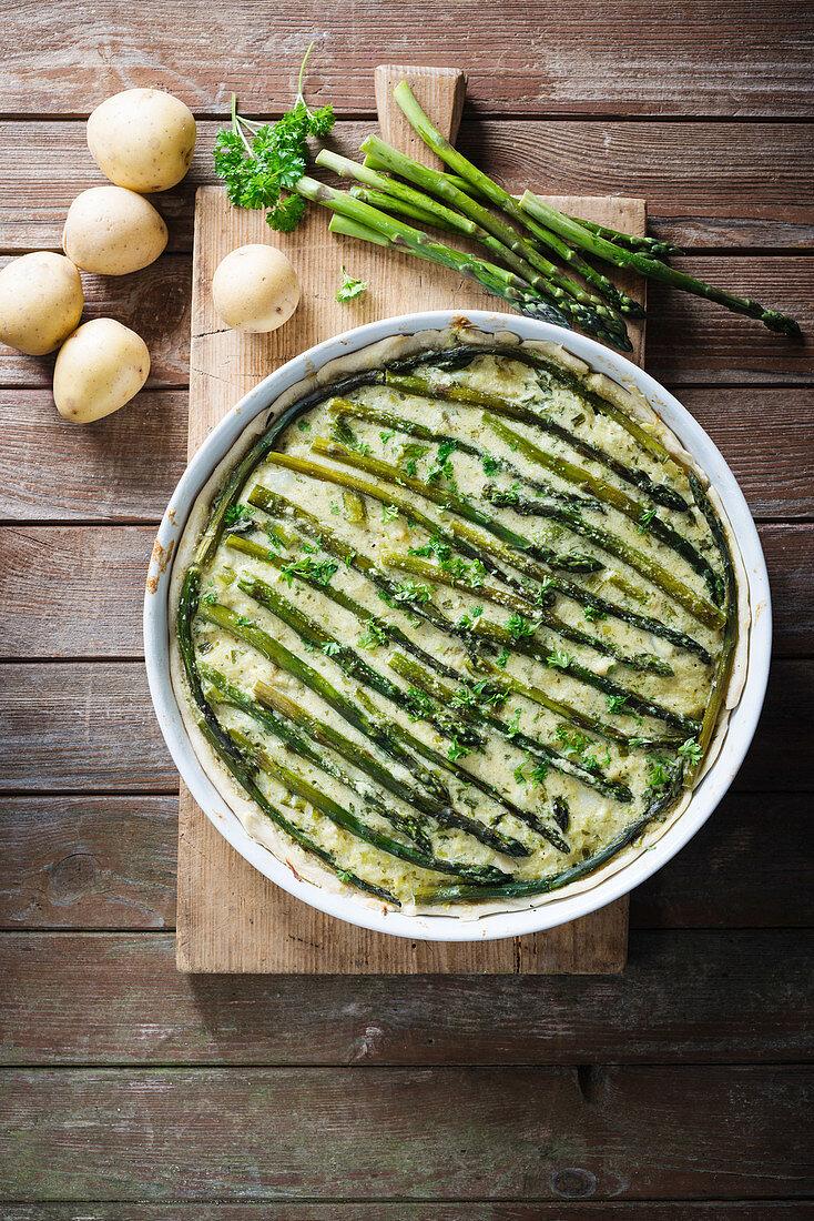 Asparagus and potato quiche (vegan)