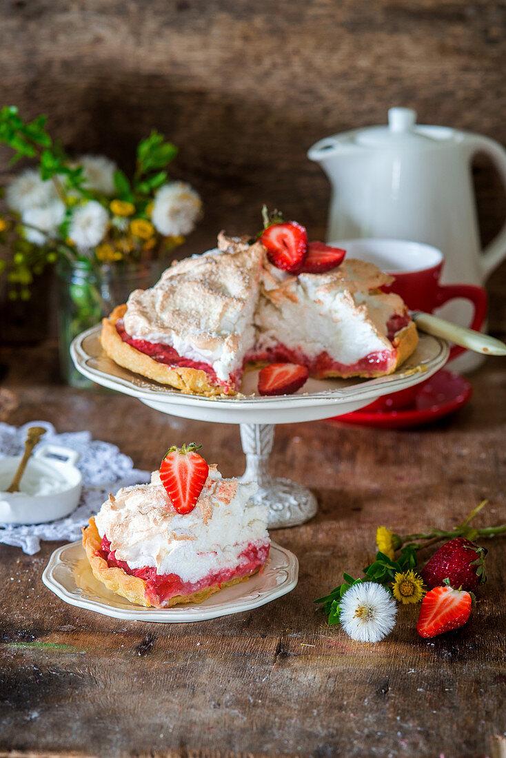 Strawberry and coconut meringue pie