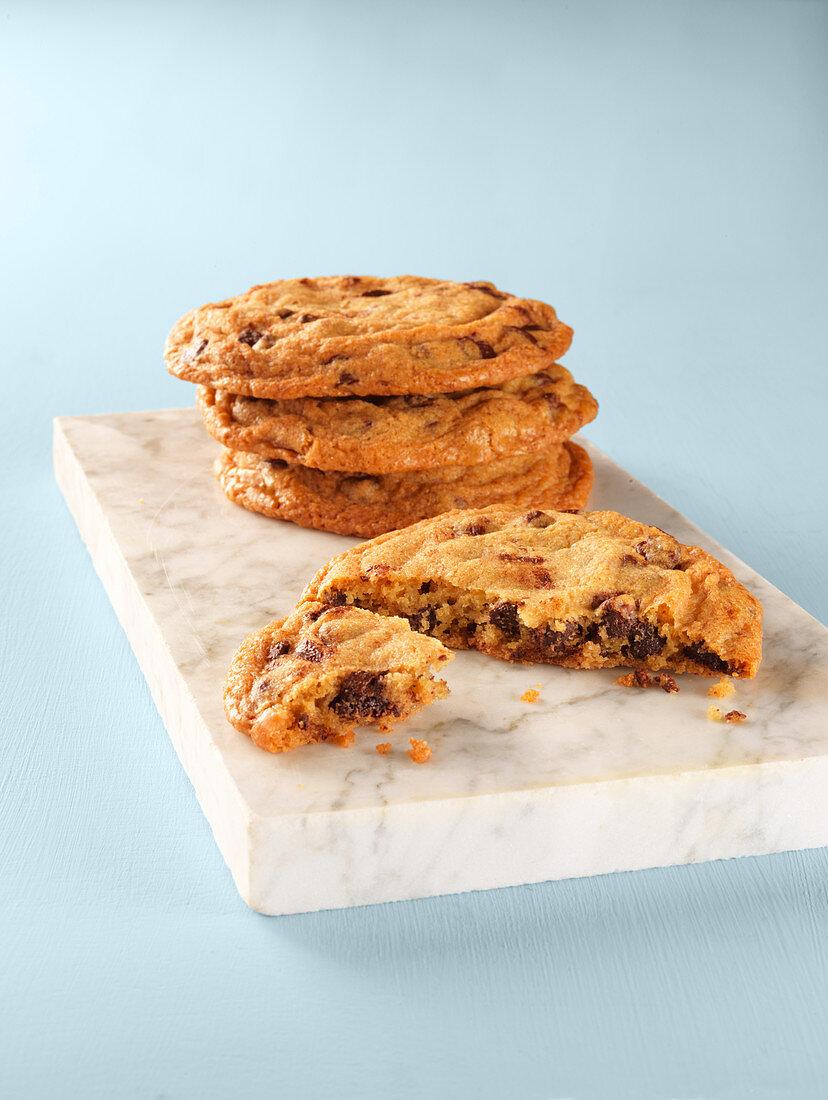 Half eaten chocolate chip cookies