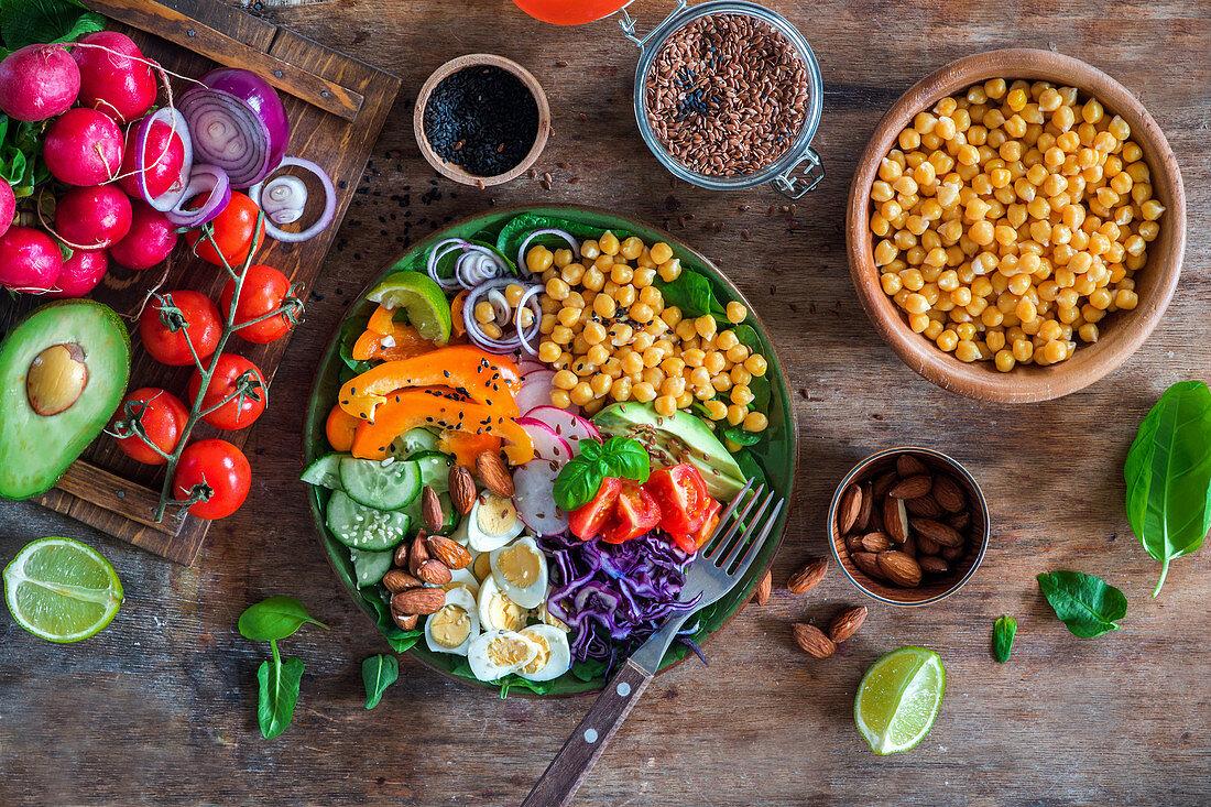 Healthy chick peas salad