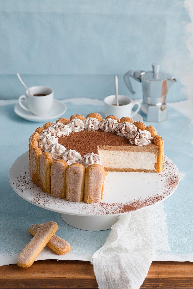 Cold mascarpone cream cake with sponge fingers