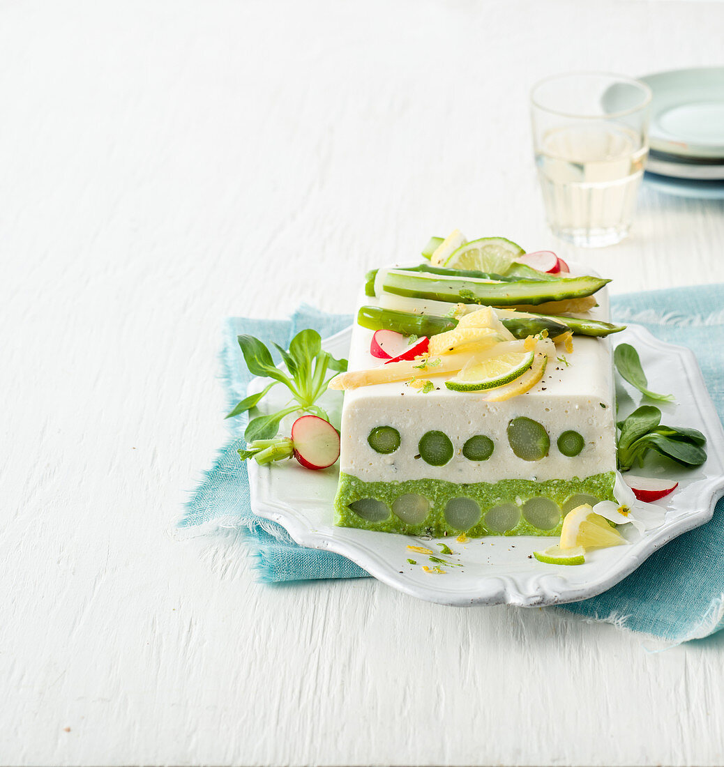Ricotta and asparagus terrine