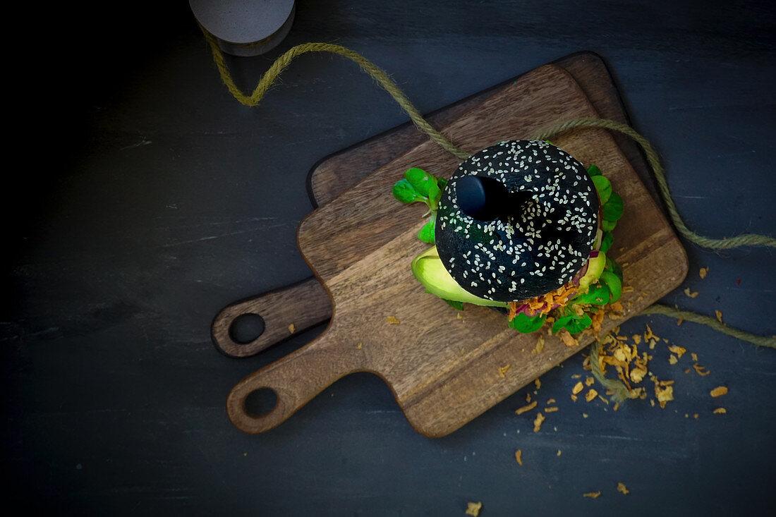 A black sepia burger