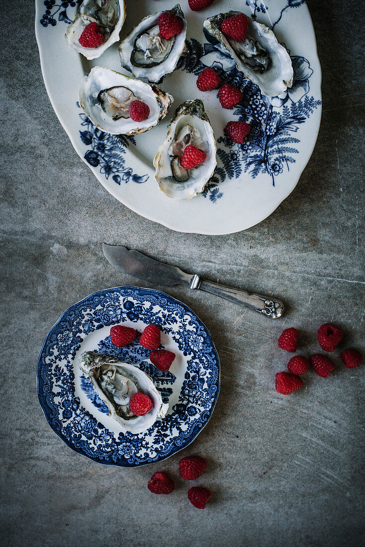 Oyster Plate with Raspberries and Apple Cider