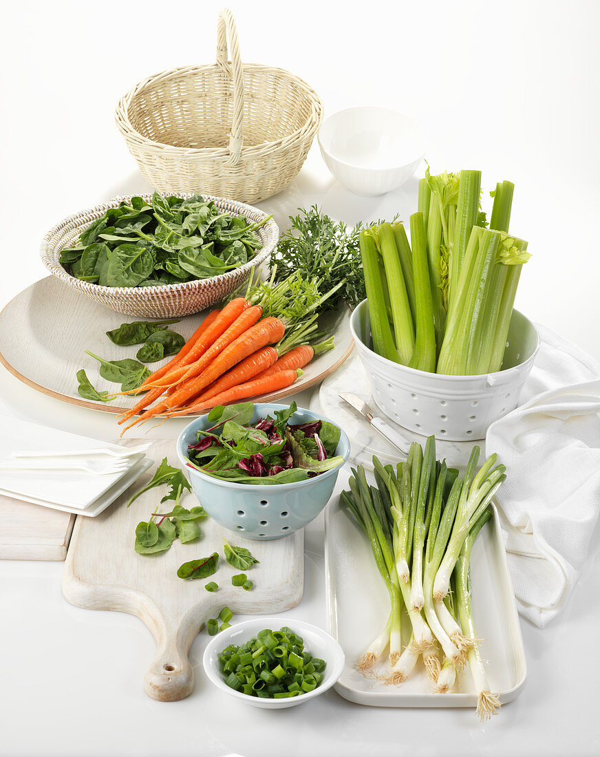 Various types of vegetables in containers