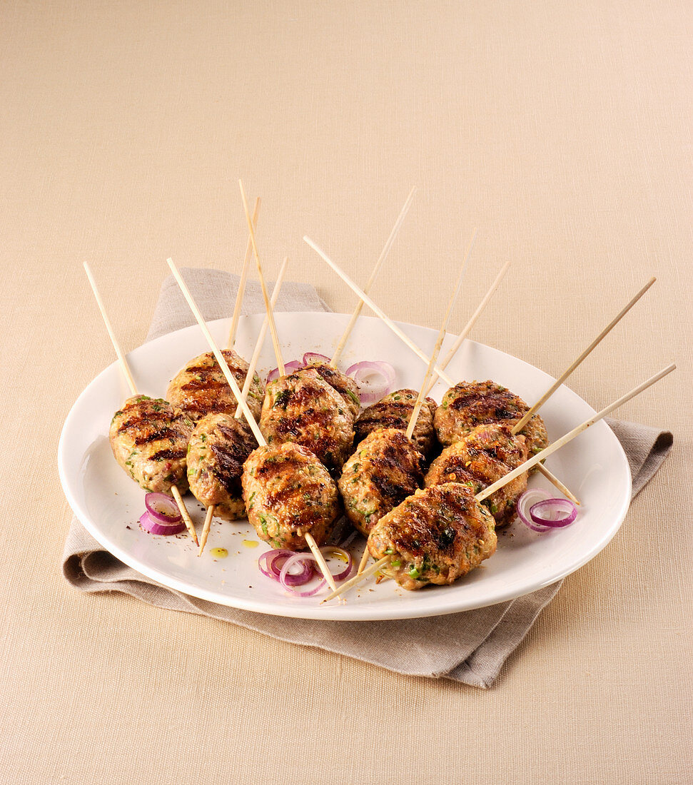 Grilled minced meat skewers with red onions