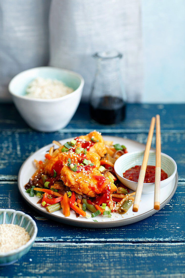 Sweet and sour fish with vegs