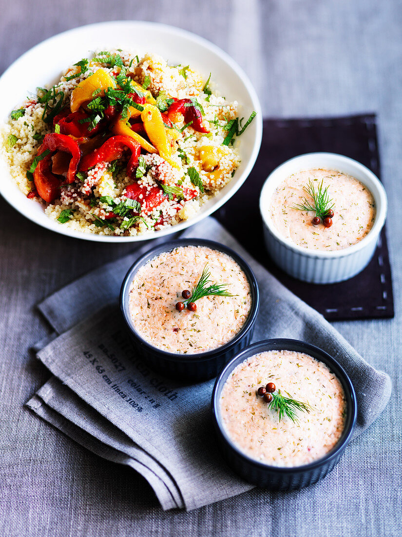 Couscous with roasted peppers and fish mousse