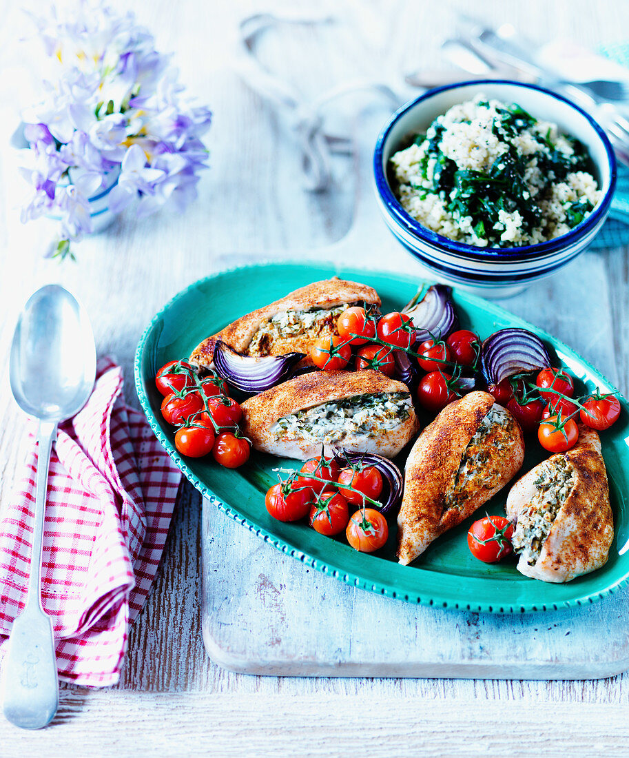 Chicken breasts filled with garlic and herbs, onions and tomatoes
