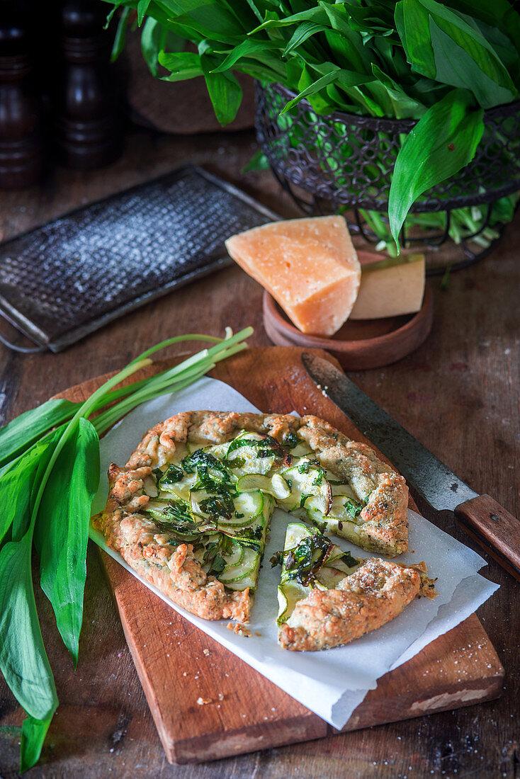Zucchini and wild garlic pizza
