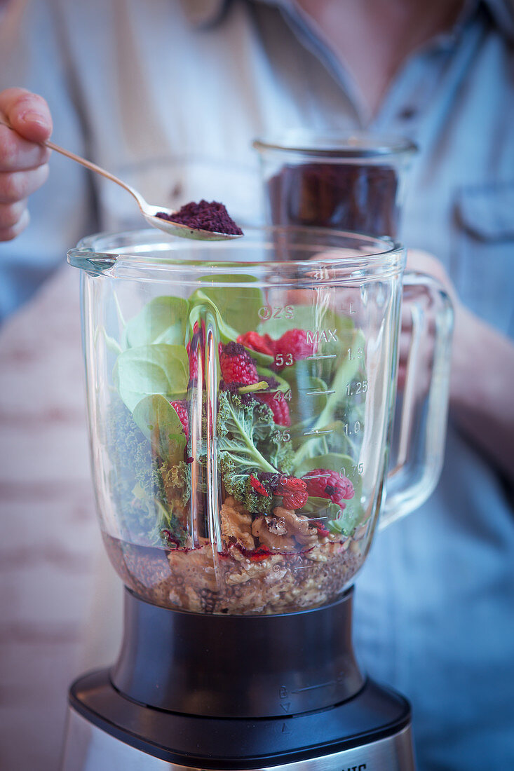 Ingredients for a smoothie in a blender
