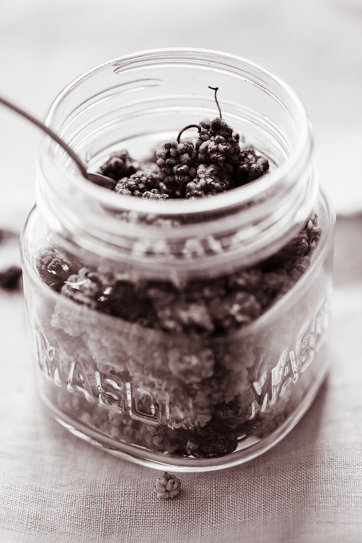 Mulberries in a glass