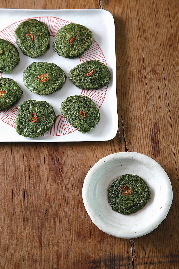 Grassy seaweed pancake
