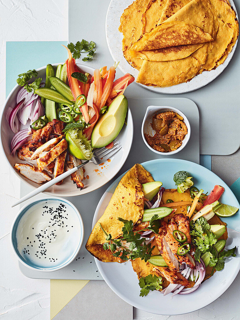 Roast chicken tikka salad with carrot crepes