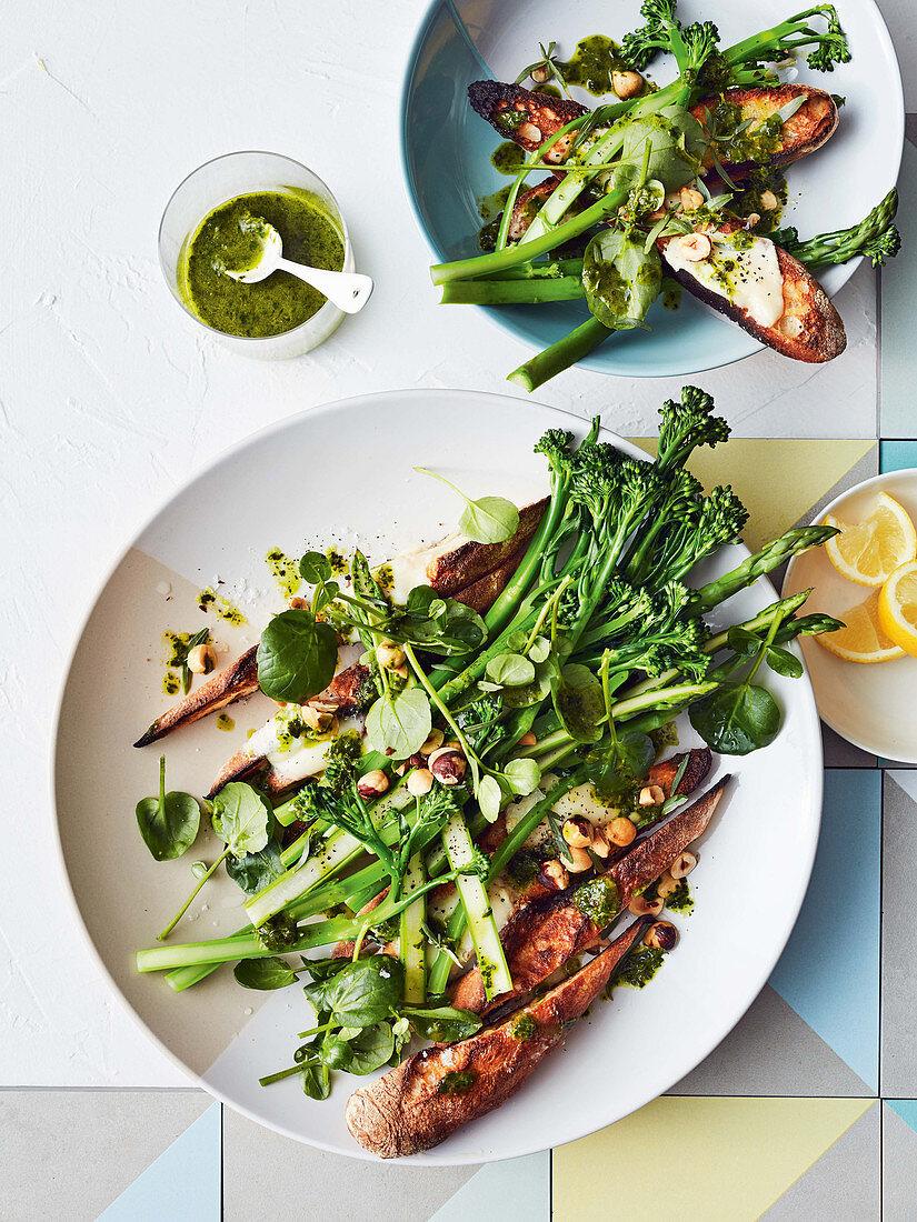 Taleggio sourdough salad with asparagus, broccolini and salsa verde