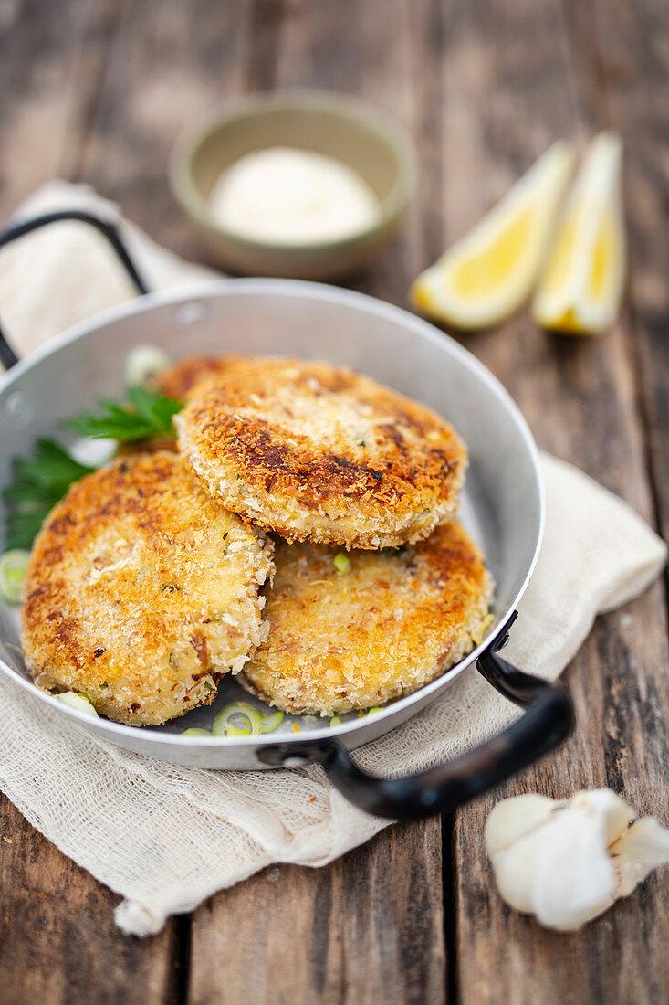 Tuna croquettes in a pan