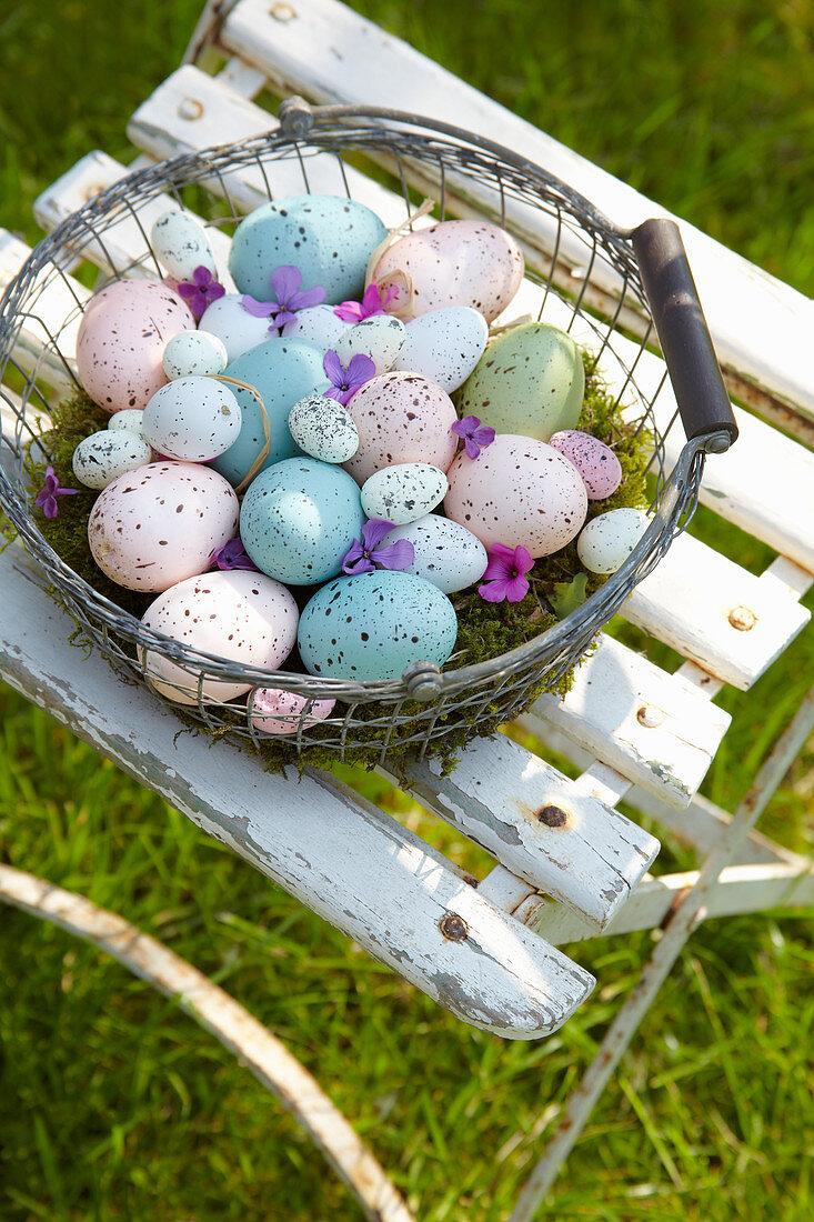 Basket of speckled Easter eggs