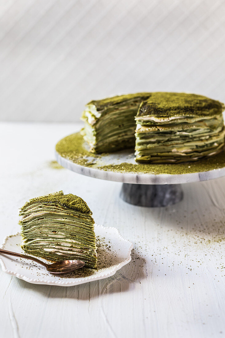 Matcha mille crepe cake with custard-creme filling