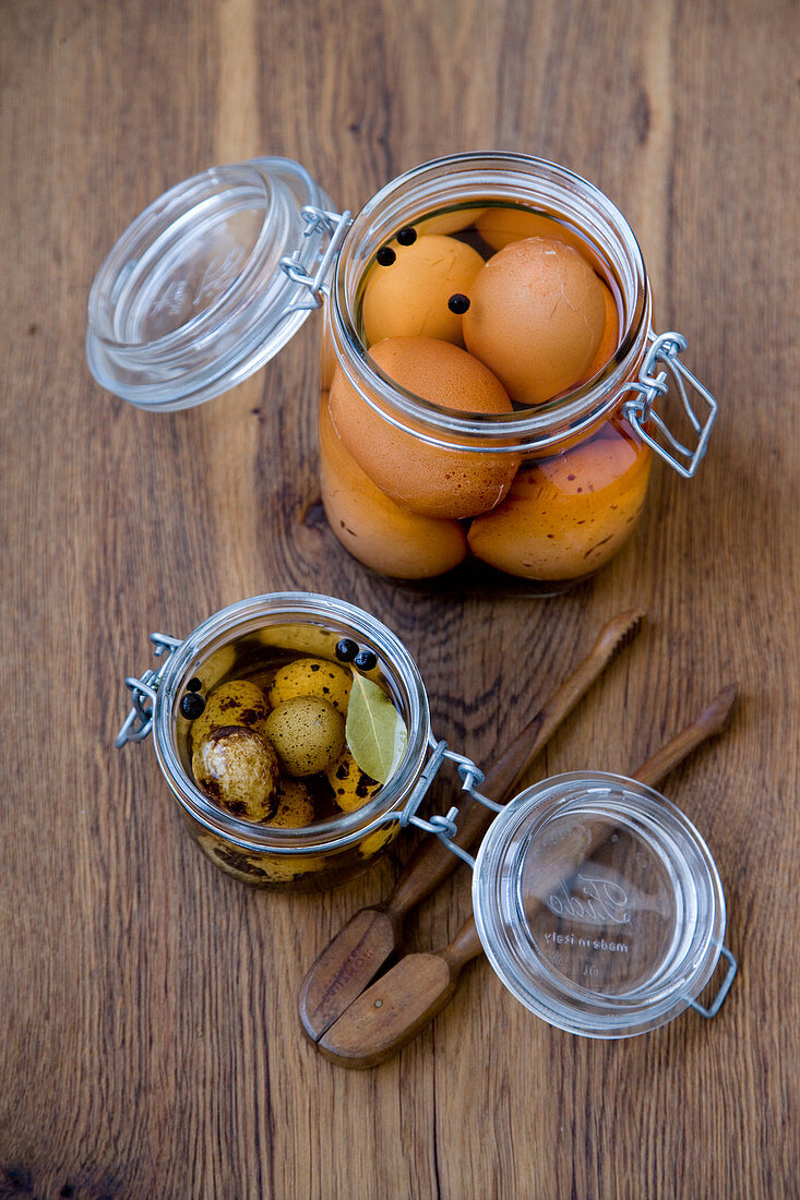Pickled chicken and quail eggs