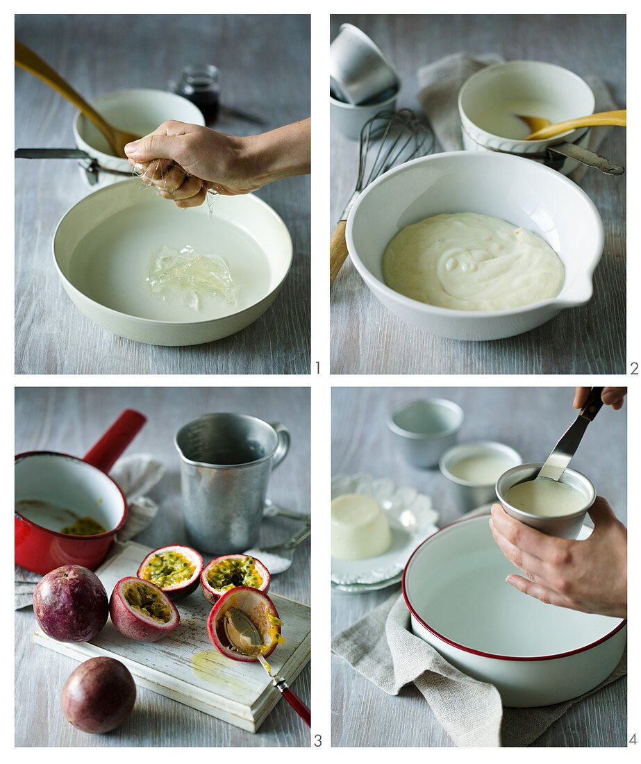 Panna cotta with passion fruit sauce being made