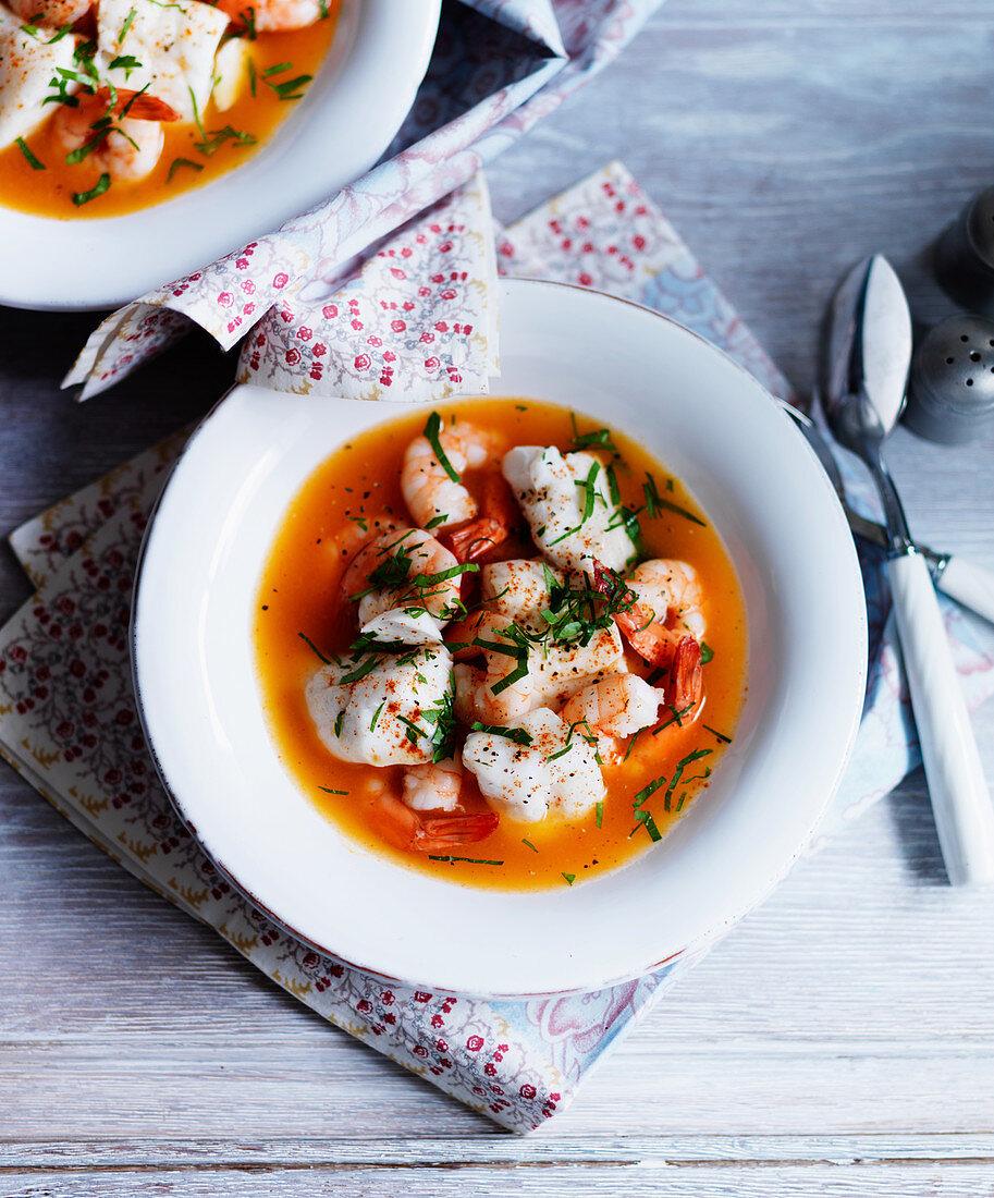 Bouillabaisse with shrimps