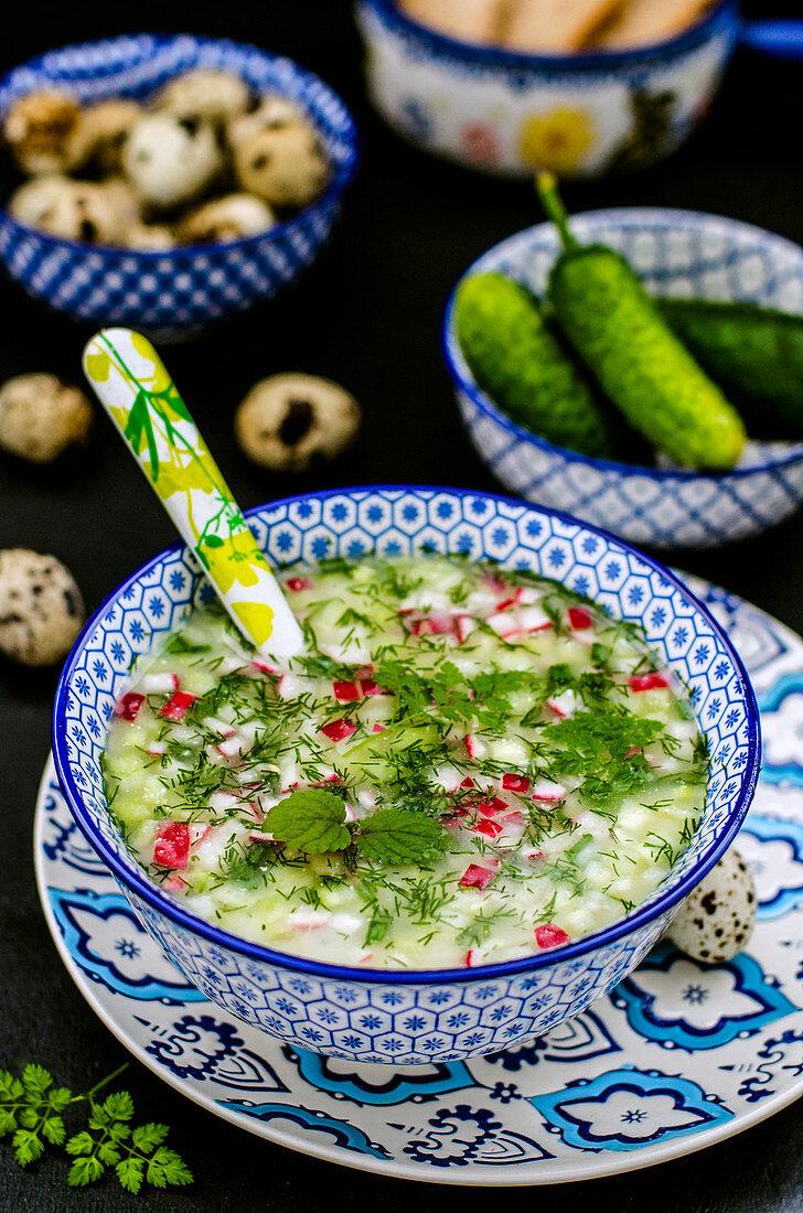 Okroschka (cold vegetable soup, Russia)